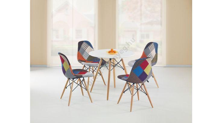PROMETHEUS - egy fiatalos, trendy és modern étkezőasztal, lakkozott MDF-ből és tömör bükkből. A köralakú asztal mérete: ø80/75 cm. A fotón látható székek nem tartoznak az asztalhoz. Ez a modell másik cikkszámon egyéb kivitelben is