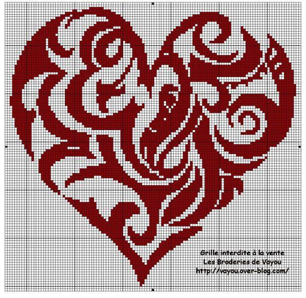 Free Cross Stitch Heart Swirl Pattern