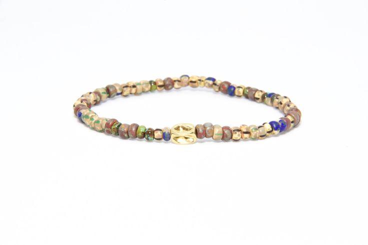 18K Solid Yellow Gold Beaded Bracelet Brown Beads - Men's & Women's Stylish & Unique Bracelets