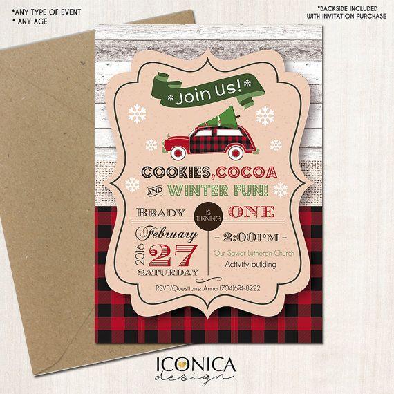 Christmas Red Pickup Car Lumberjack Plaid First Birthday Invitation - Any Age…