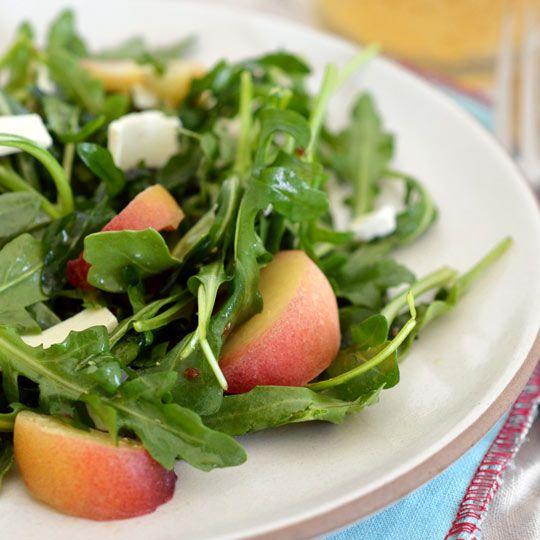 Peach and Arugula SaladSalad Recipes, Recipe Cooking, Yummy Food, Ricotta Salata, Healthy Eating, Summer Salad, Peaches Salad, Arugula Salad Recipe, Fresh Peaches
