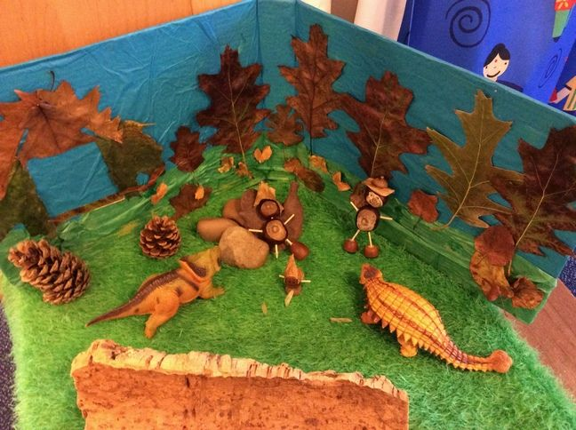 Conker people, dinosaurs and small-world background -made from cardboard, tissue paper and ironed leaves (to make them dry out quicker but stay flat) . My 3-4 year-old nursery kids weren't really interested in the conker people though...I think they just dislike natural materials...
