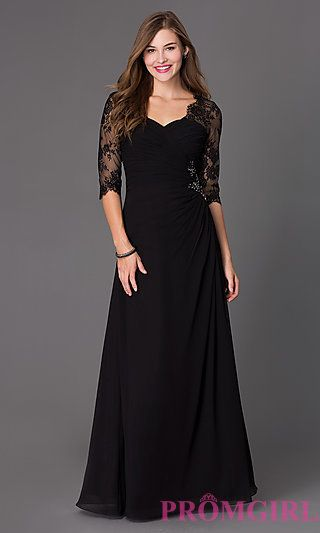 Floor Length Ruched Dress 7210 with Lace 3/4 Length Sleeves at PromGirl.com