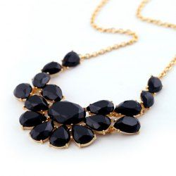$5.86 Chic Candy Color Faux Gemstone Pendant Alloy Necklace For Women