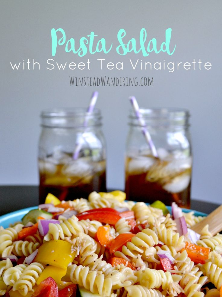 Make this Pasta Salad with Sweet Tea Vinaigrette as a delicious side dish or main entree. This is the perfect summer food for your next party or family get together!