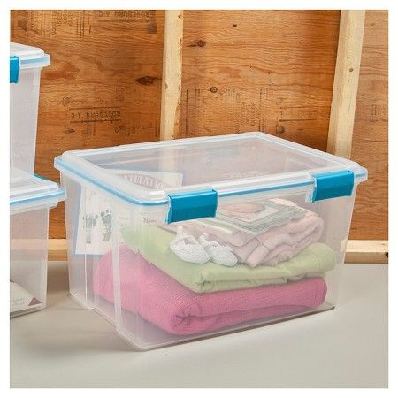 Sterilite® 54 Qt Air Tight Storage Tote - Transparent with Blue Latch : Target