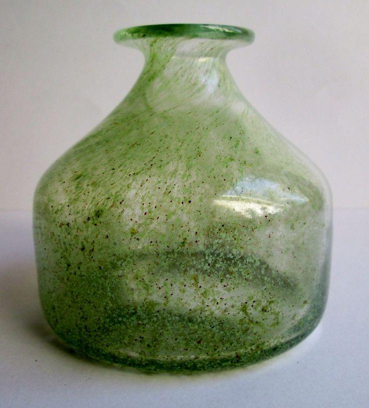 Benny Motzfeldt Plus Glassworks Norway hand blown 1970s studio art glass vase by SCALDESIGN on Etsy