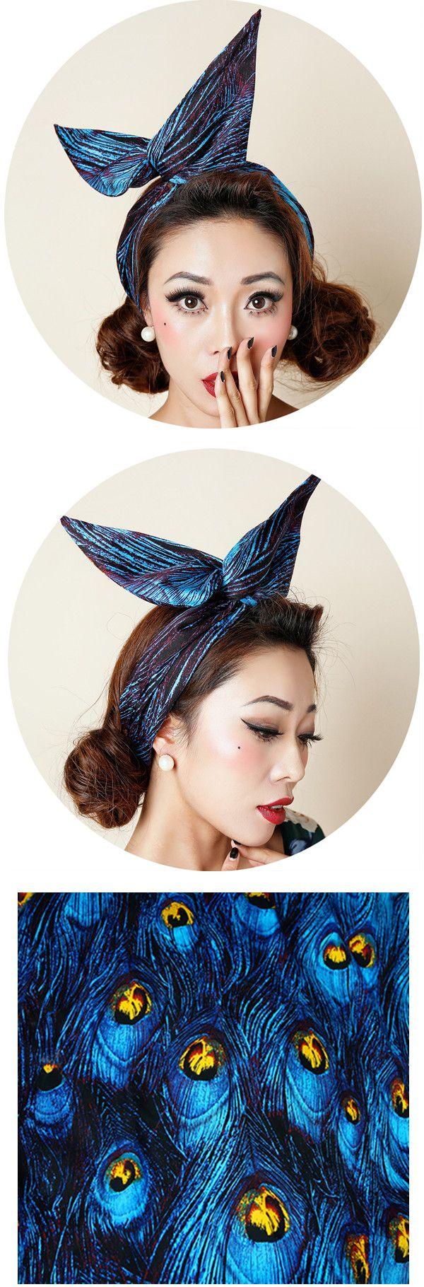 1950 s женщины винтаж рокабилли pinup синий Павлиньи перья оголовье hairband волос обернуть Голову Шарф полосы аксессуары провода лук ухо купить на AliExpress