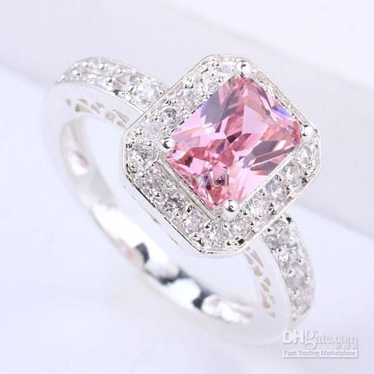 Wholesale cheap silver ring online, With Side Stones   - Find best  Special Design Women Silver Ring 6X8Mm Oblong Pink Cubic Zirconia J7443 Yin Gift For Lovers Size 6 at discount prices from Chinese With Side Stones supplier - timejewel on DHgate.com.
