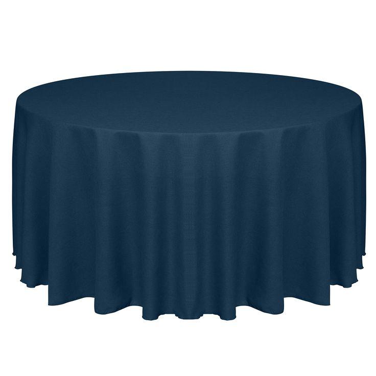 Ultimate Textile (20 Pack) Faux Burlap - Havana 90-Inch Round Tablecloth - Basket Weave, Navy Blue