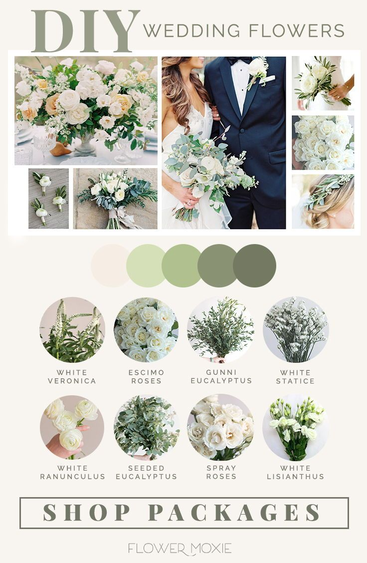 Cream And Sage Wedding Flower Packages In 2020 Green Wedding Flowers Wedding Flower Packages Flower Packaging