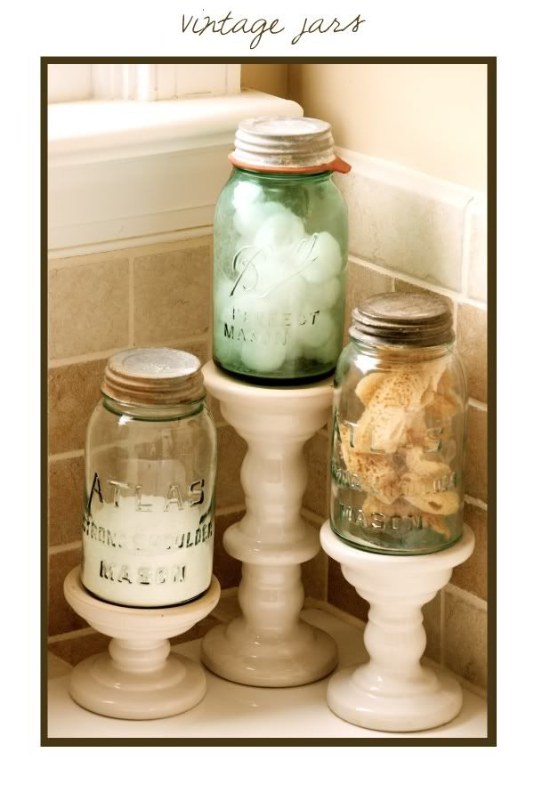 I like this so they just aren 39 t jars sitting on the for Bathroom decor mason jars