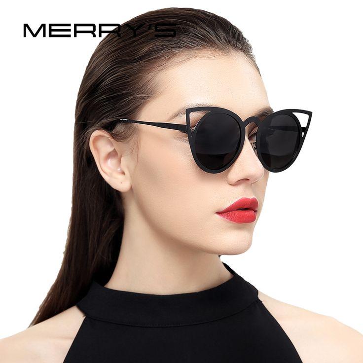 US $10.78 -- Merry's женщин кошачий глаз солнцезащитные очки Брендовая Дизайнерская обувь солнцезащитные очки Классические оттенки круглая рамка купить на AliExpress