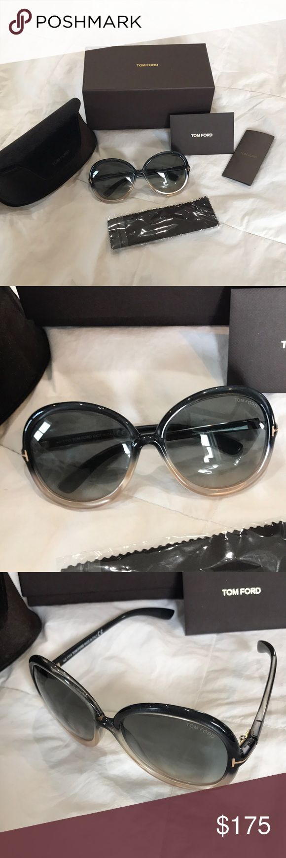 Tom Ford Sunglasses Gorgeous authentic Tom Ford Sunglasses with original box, case, cards and cloth. Bought at Barneys for $595 and worn maybe three times. They are in perfect condition except for very thin wear marks where the end of the arms hit the glass when folded. Very slight and hard to see but wanted to mention it. Great deal at this price! Tom Ford Accessories Sunglasses