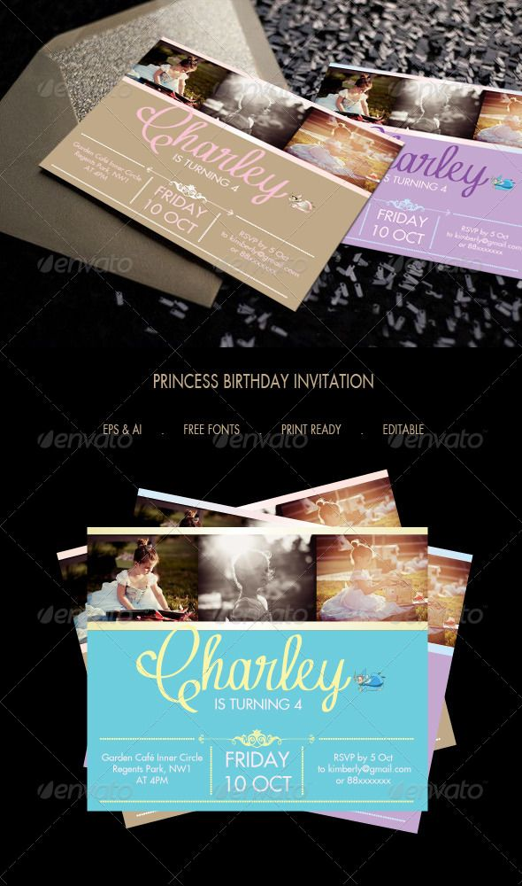 Best Invitation Card Images On Pinterest Invitation Cards - Birthday invitation template graphicriver