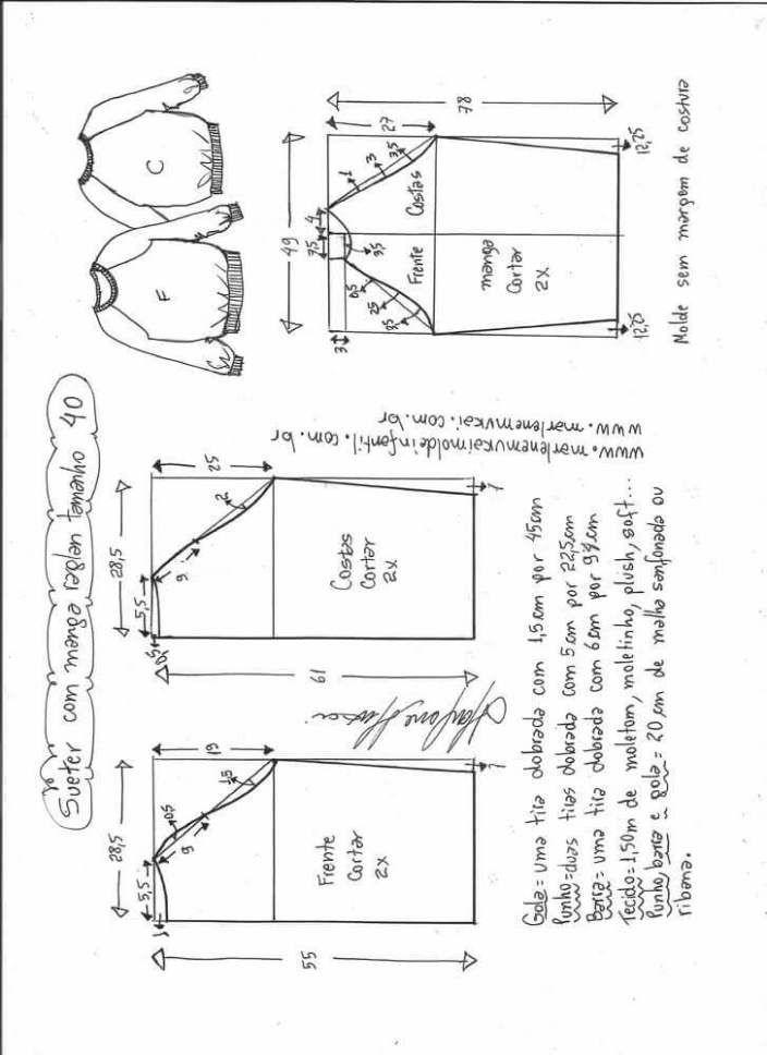 Patrón Blusa suéter raglan   Corte y confección   Pinterest
