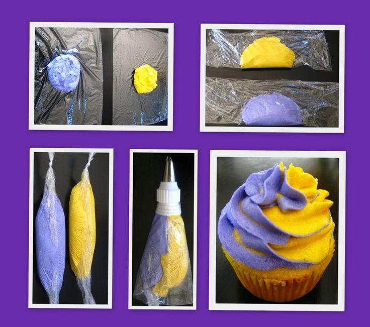 Another tutorial on two-tone.  They use saran wrap to keep the frosting from mixing in the bag.  Clever.  http://grinandbakeit.com/victory-cupcakes-for-the-crazy-fans-on-the-couch-two-toned-frosting-technique