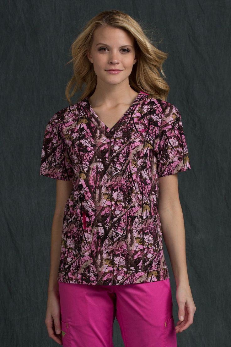 Med Couture 8456 Women's V-Neck Camo Scrub Top
