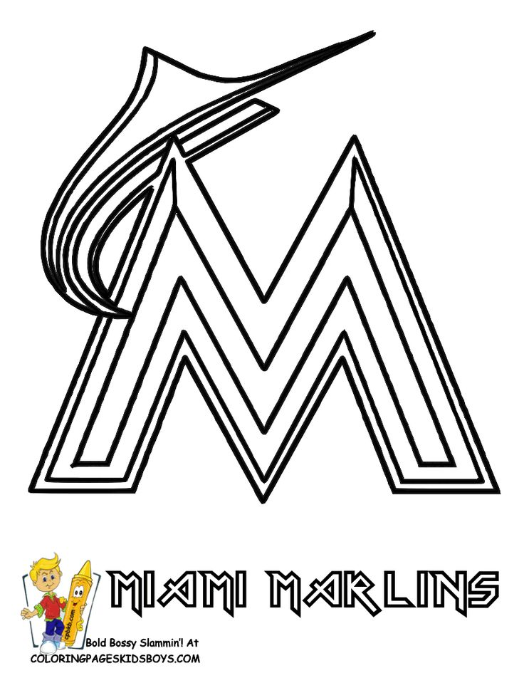 06_miami_marlins_baseball_coloring_at coloring pages book for kids boysgif - Free Coloring Pages Baseball 2