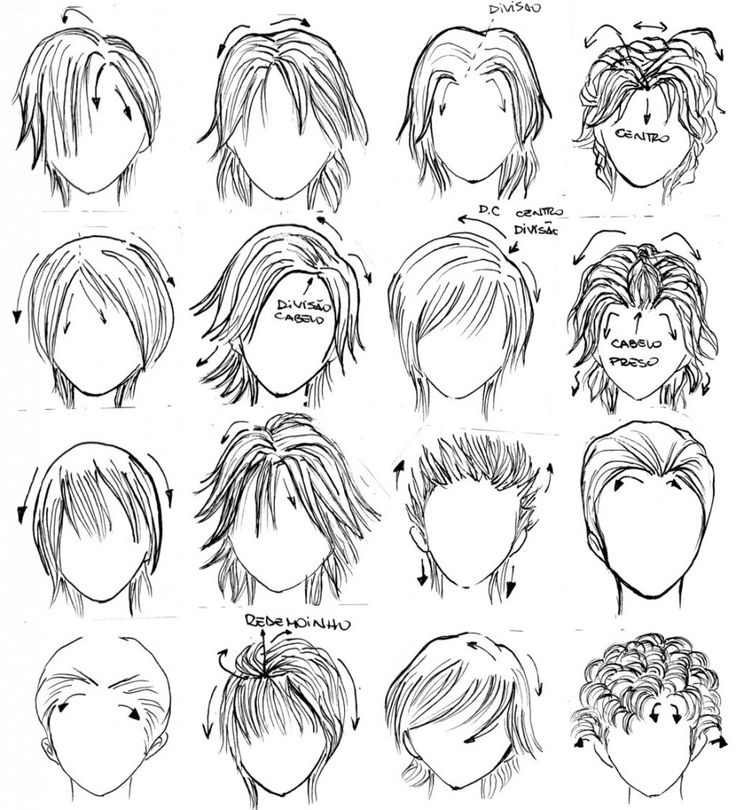 cabelos masculinos manga 930x1024 Mangá Como Desenhar Rosto, Expressões Faciais e Cabelo: Passo a passo