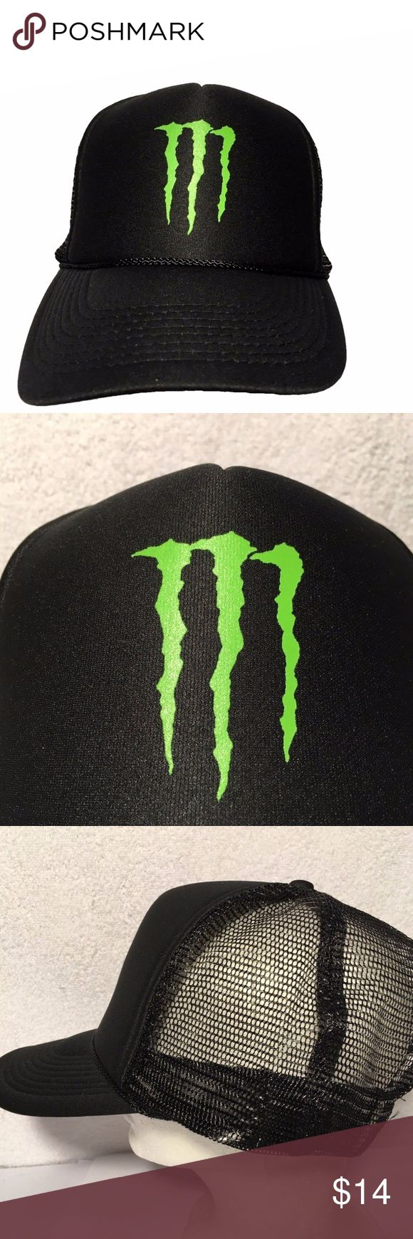 "Monster Energy Drink Black Snapback Trucker Hat New without tags Monster Energy hat.  Made by Otto Snapback trucker style with mesh back. Black color with green Monster ""M"" logo. Makes a great gift OTTO Accessories Hats"