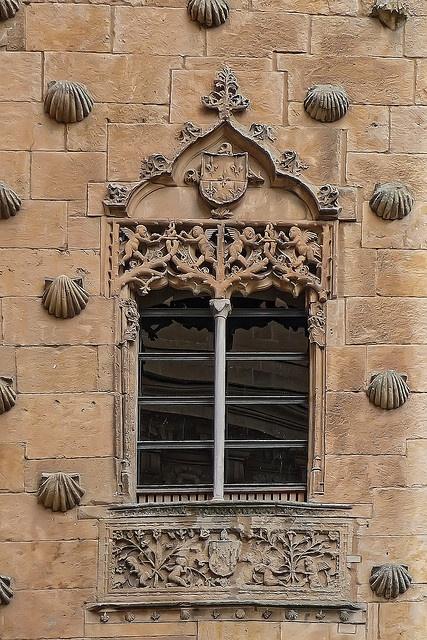 House of Shells (Casa des Las Conchas) façade window, Salamanca, Spain