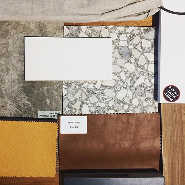 Materials proposed #woodworklab #materials #colors #interiordesignproject #woodworklabproject #leather #oakwood #white #blue #gray #terrazo #linenfabric