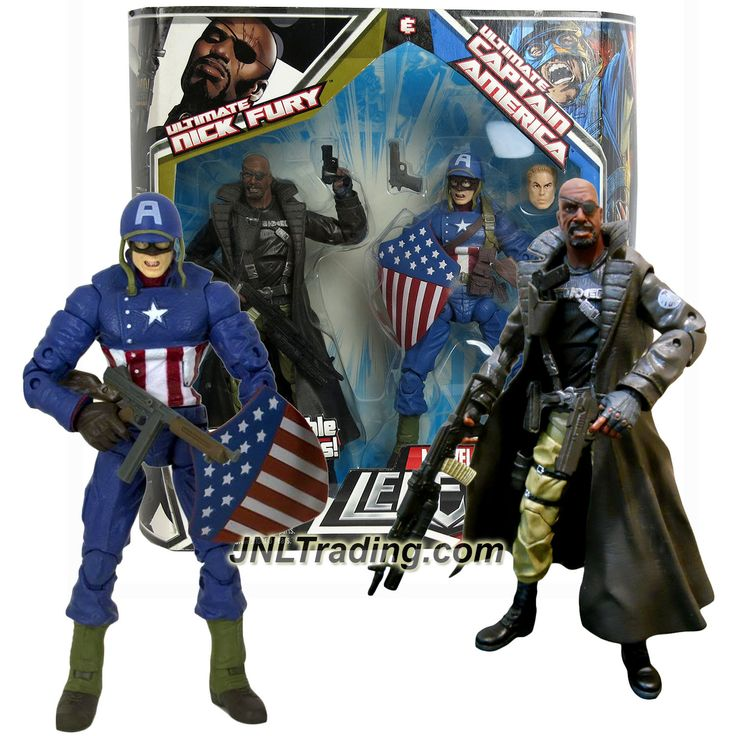 Hasbro Year 2008 Marvel Legends 2 Pack 7 Inch Tall Action Figure Set - ULTIMATE NICK FURY & CAPTAIN AMERICA with Interchangeable Parts & Weapons