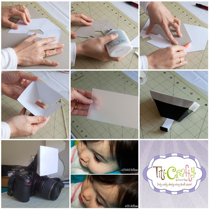 A built in flash diffuser. Cardboard, cardstock, glue, parchment paper and a pattern {FREE PRINTABLE}. A great-low cost help to improve your photos!  http://titicrafty.blogspot.com.es/2013/03/diy-difusor-de-flash-incorporado-built.html