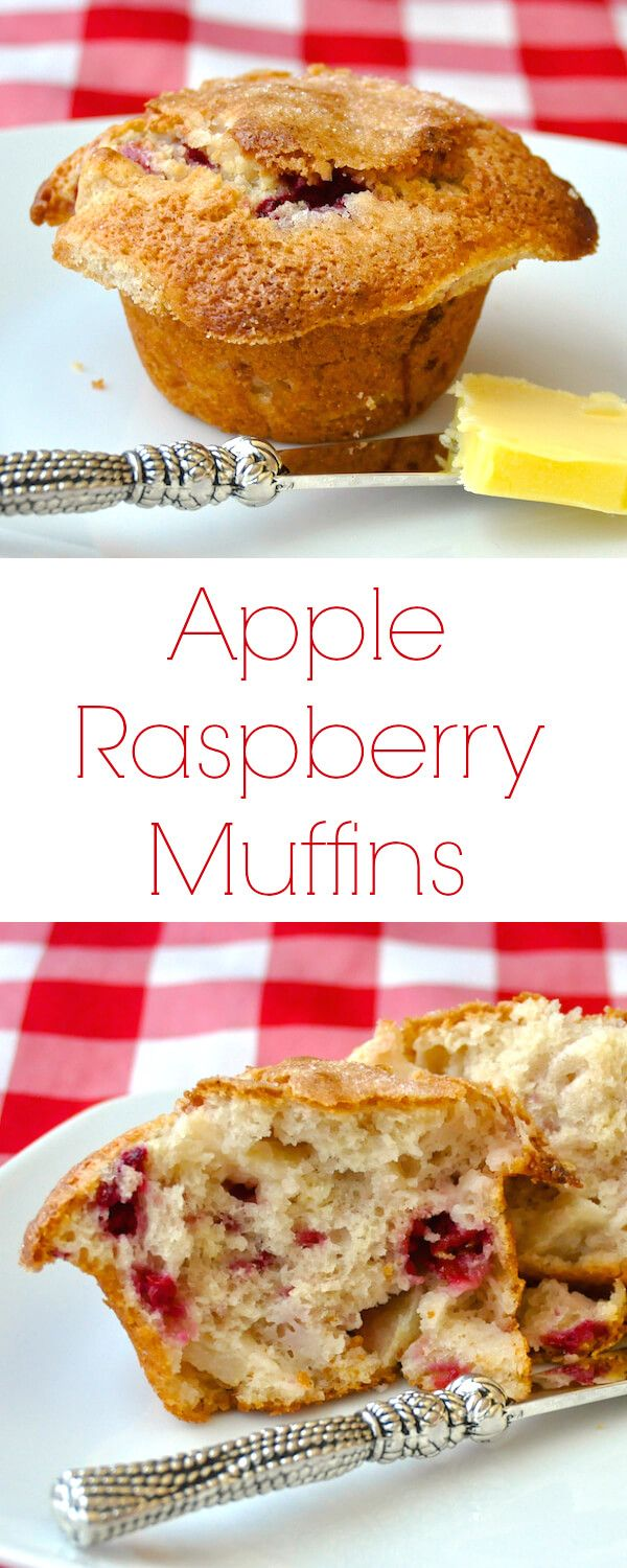 Apple Raspberry Muffins - these light, moist, homemade muffins with sweet and tart pops of apples and raspberries will be the talk of your weekend brunch.