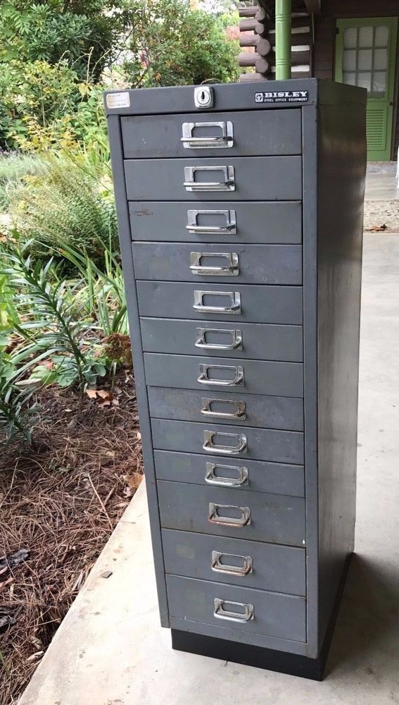 Vintage Tall and Thin Industrial Steel 13 Drawer English File Cabinet #English #Bisley