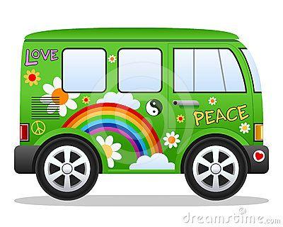 Hippie retro Van dos desenhos animados