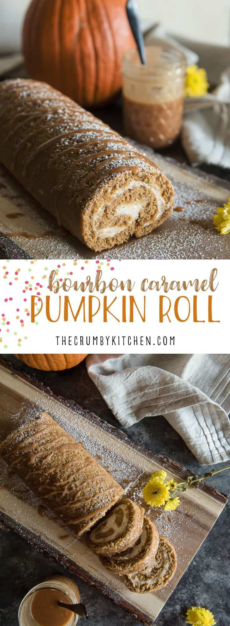A fall treat with a boozy twist! This tender Bourbon Caramel Pumpkin Roll is filled with caramel cream cheese that's been kissed with bourbon whiskey, then drizzled with more caramel for good measure! #bourbon #caramel #creamcheese #pumpkin #pumpkinroll #fall #autumn #thanksgiving #cake #dessert #recipe #cakeroll