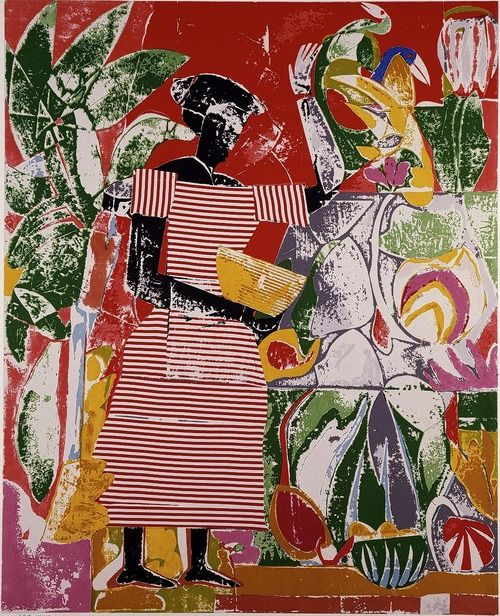 Looking for a copy of a print by Romare Bearden. Two people are quilting. Help me.?