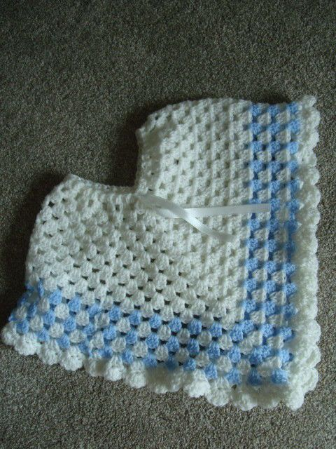 Child handmade crochet poncho approx 13  drop front Blue/white boys acrylic yarn