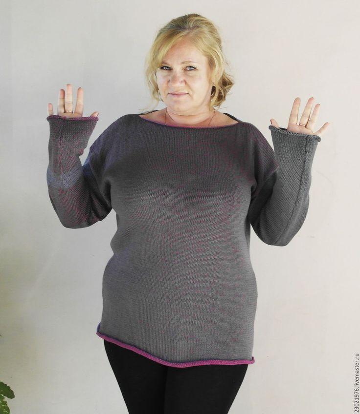 Купить Пуловер с 3D эффектом.Оверсайз. - оверсайз, большой размер, женская одежда, темно-серый