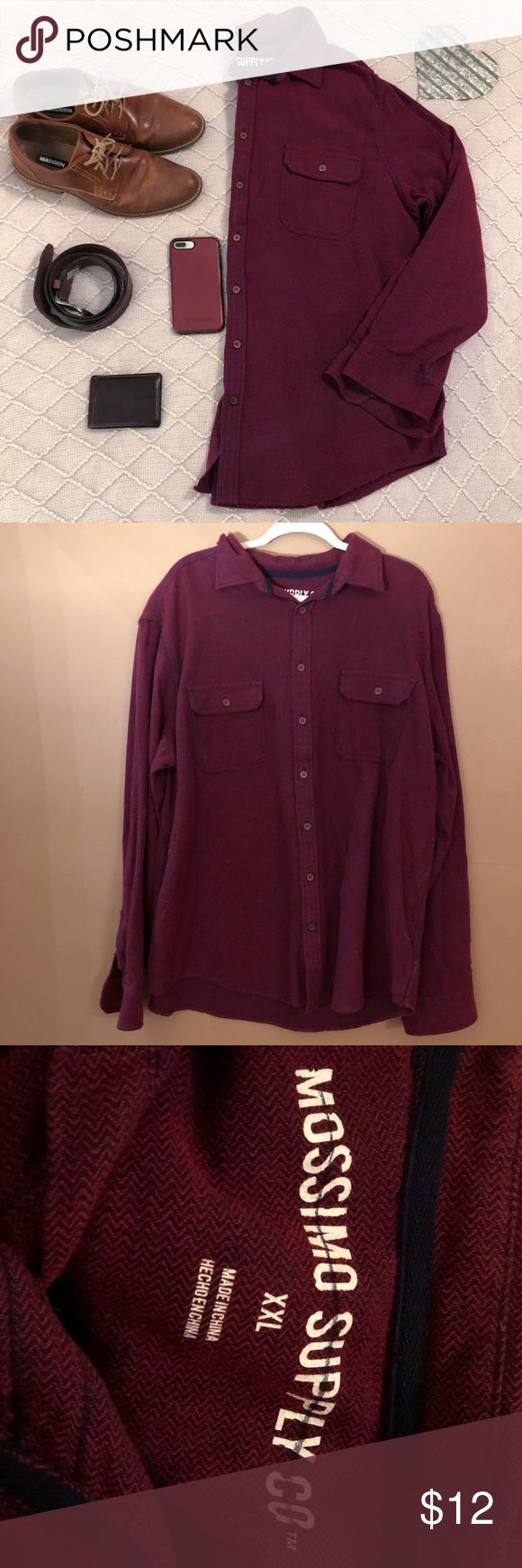 Mossimo Red / Burgundy Long Sleeve Button Down XXL Men's long sleeve button down Size XXL NEW without tags  💯 cotton Mossimo Brand Red /Burgundy Color See detail photo for picture of subtle pattern  *listing is for Shirt only* Mossimo Supply Co Shirts Casual Button Down Shirts