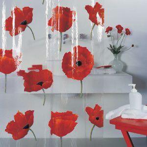 Spirella Red Poppy Shower Curtain