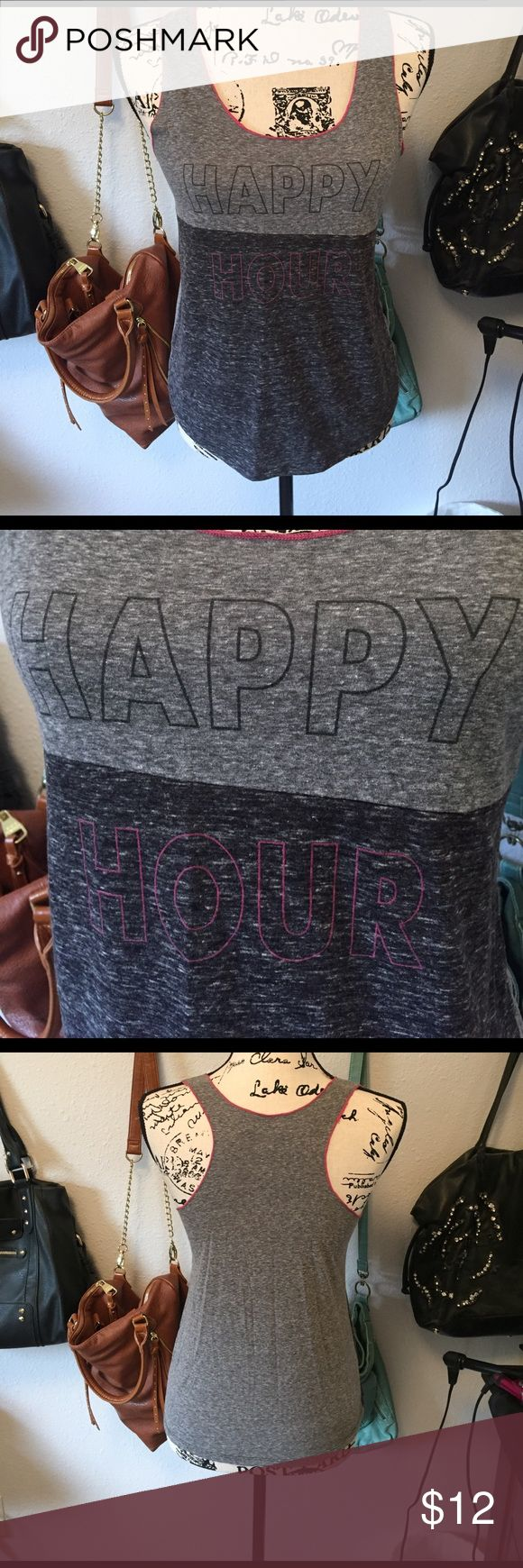 Happy Hour Tank Worn once, like new condition. Purchased from TJ Maxx. Pink piping on the trim Center Stage Tops Tank Tops