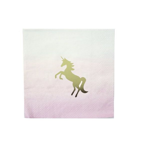 """WE HEART UNICORNS COCKTAIL NAPKINS - Stunning pink and gold unicorn napkins, featuring the phrase 'I believe' on the revere for an added touch of magic.  Boutique style partyware by Talking Tables. Each pack includes 16 paper napkins. Napkin dimensions are approx. 5"""" x 5"""" (folded)."""