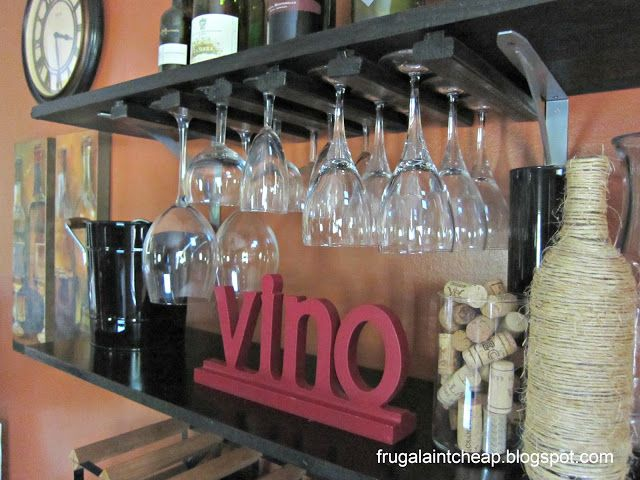 Diy wine glass rack how freaking cute furniture diy for Cheap wine storage ideas