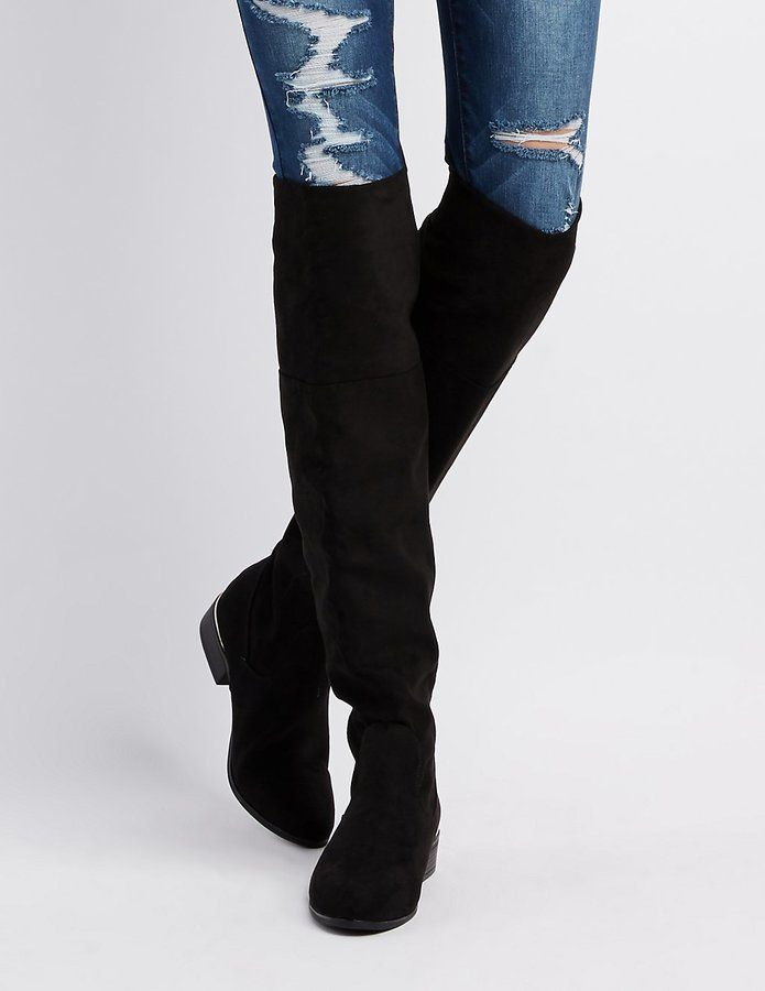 Charlotte Russe Bamboo Metal-Trim Over-The-Knee Boots