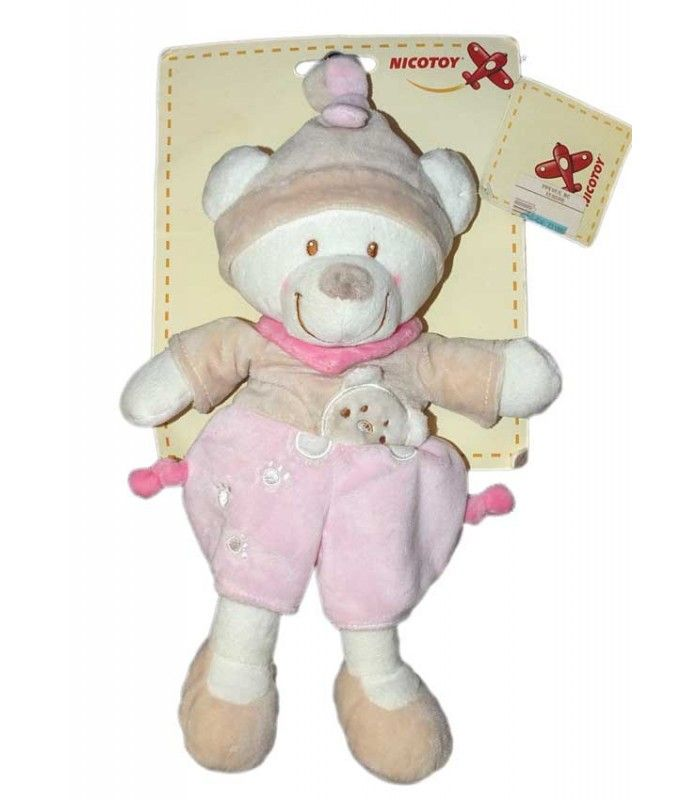 Doudou ours beige rose Nicotoy 579/0161 30 cm