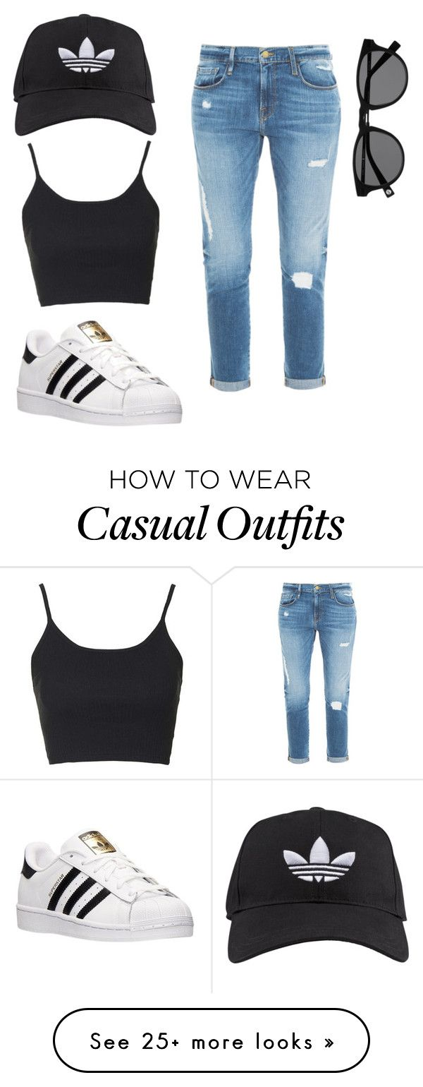 """""""Sporty casual."""" by mayagproa on Polyvore featuring adidas, Frame Denim, Topshop, women's clothing, women, female, woman, misses and juniors"""