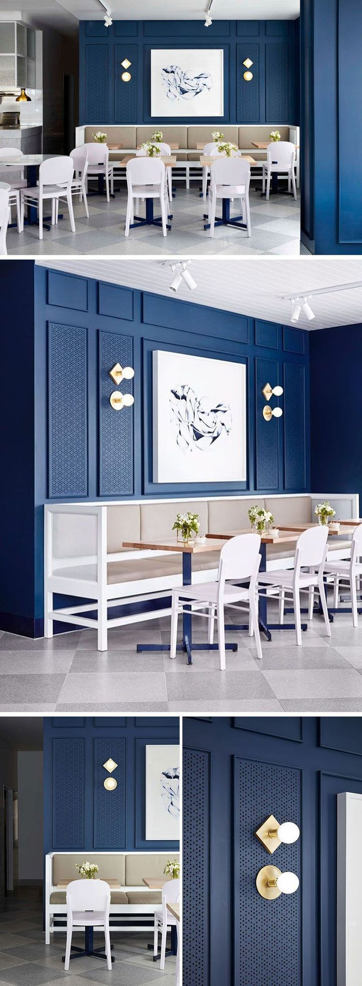Artwork above the banquette seating in this cafe has been perfectly framed with moulding and lighting.MADO MADO MADO