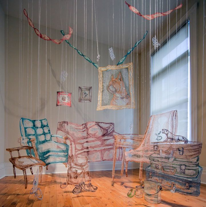 Showslow Thread Drawings And Installations By Amanda McCavour Living Room