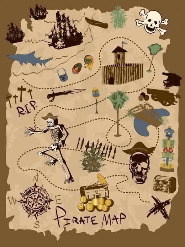 a pirate's treasure map for the wall, great idea for a kids room