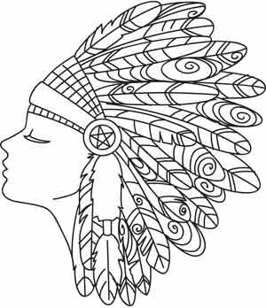 awesome drawing that simplifies drawn lines of headress would make a pattern for this very simple to draw