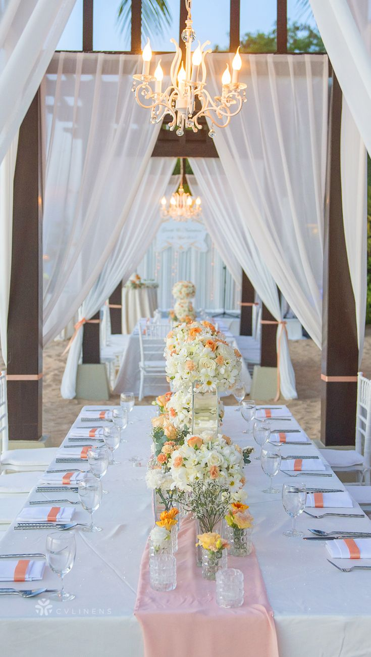 Dreamy Outdoor Beach Wedding Table Setting With Canopy Draping