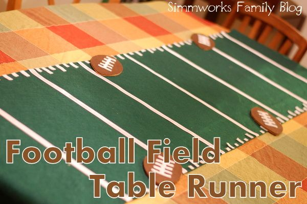 DIY football field table runner – perfect for game day parties